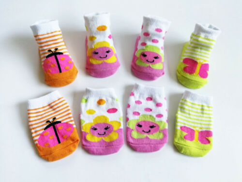 4 Pack NEW BORN Girl Infant Baby Socks 0-6 Month Dots Flower Butterfly Ladybug