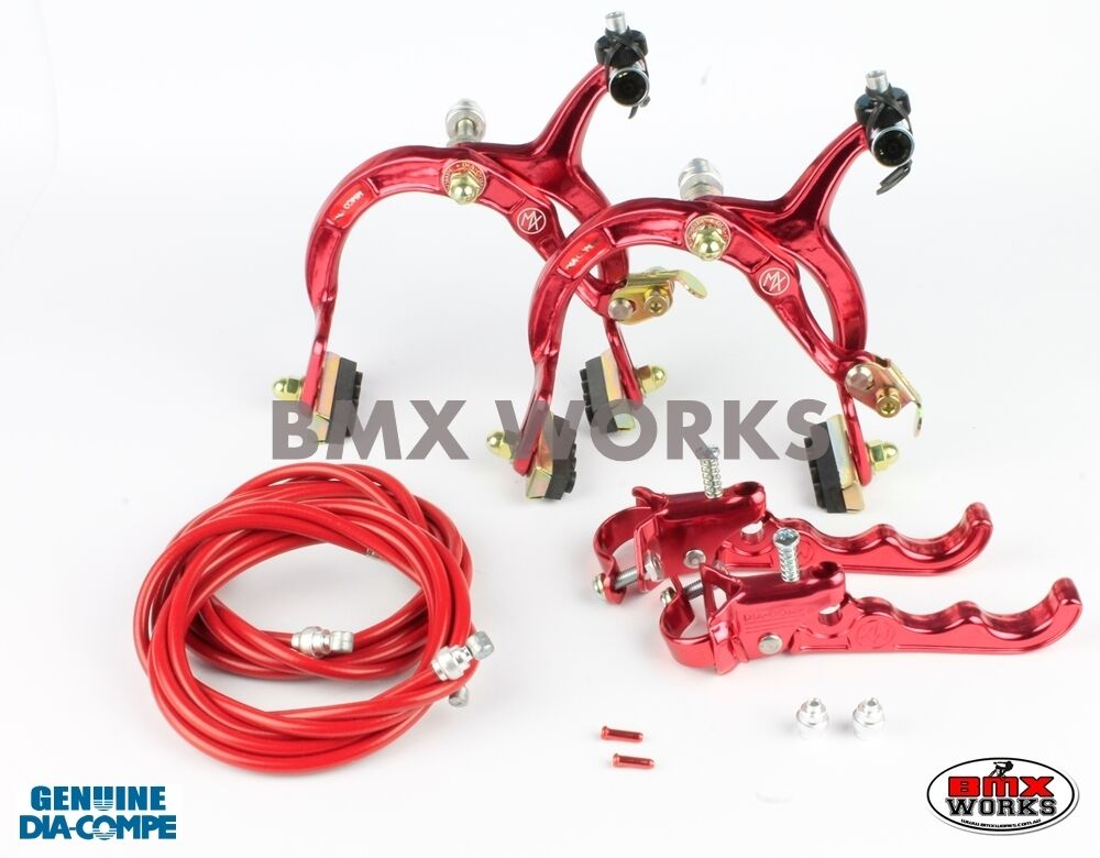 Dia-Compe MX1000 - MX120 Red Brake Set - Old Vintage School BMX Style Brakes