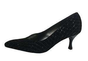 Scarpe Punta Camoscio Tacco Nero Lurex In Eleganti Donna Elata Comodo Con U6xw1HUa