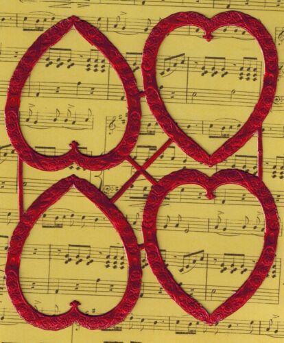VALENTINE FRAME RED EMBOSSED GERMANY PAPER FOIL HEART LOVE CARD SCRAP  VICTORIAN