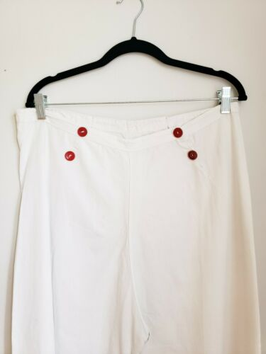 1940s White Cotton Sailor Pants Summer Gaucho Culo