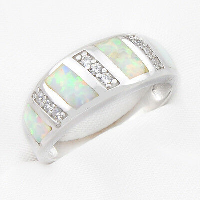 Woman Goegeous Shiny 925 Sterling Silver White Fire Opal Gems Wedding Ring Sz 7