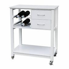 Kitchen Trolley White MDF Top & Drawer Movable With 6 Botles Rack & Casters