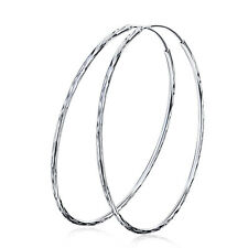 2.4''/60MM Pure 925 Sterling Silver Hoop Earring Dangle1.5mm Thin Statement