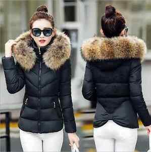 UK Winter Short Fur Collar Hooded Coat Quilted Jacket Women's Down ...