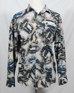 haupt-Germany-mens-shirt-size-XL-43-44-17-1-2-car-print-long-sleeve-100-cotton