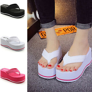 dd7d350a8f7 New Fashion Women Beach High Heel Wedge Platform Flip Flops Sandal ...