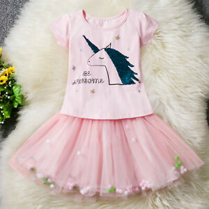 2PC Girls Embroidered Unicorn Top T-shirt Tutu Skirt Outfit Dress Set Gift ZG9