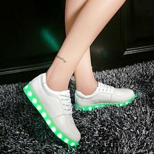 LED Light Up Shoes Luminous Sneakers Men Women Kids Girl Leather Trainers!.