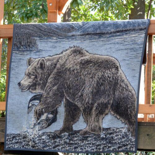 IBENA Wildlife Soft and Plush Jacquard Woven Cotton Blend Throw Blanket Bear