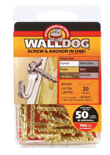 "NEW HILLMAN Walldog Screw And Anchor Set 3//16/"" x 1-1//4/"" Brass 20-Pack 42004"