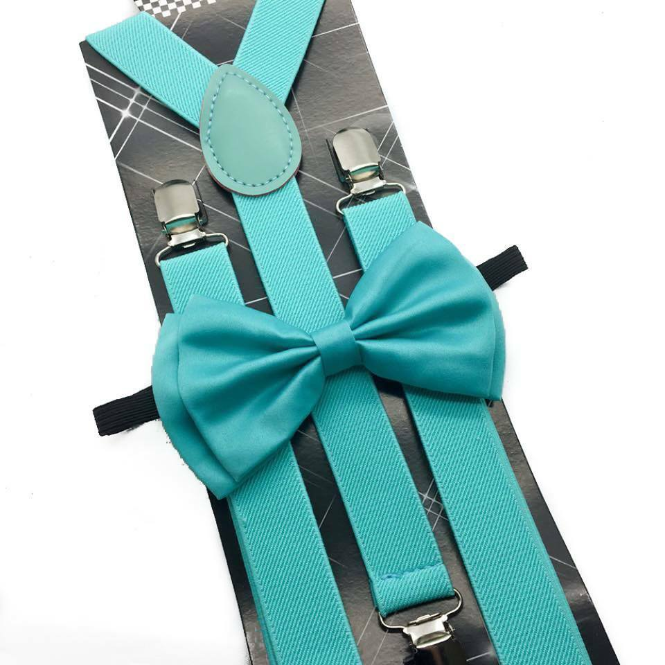 The suspenders are elastic and the bow ties are not a very shinny satin. This wizard will have you pick the color of suspender and then the bow tie. You will get a discount on the set .