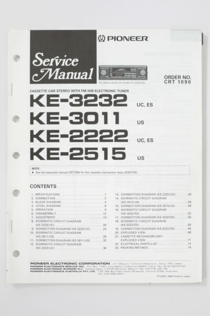 pioneer ke3232/3011/2222/2515 original service manual