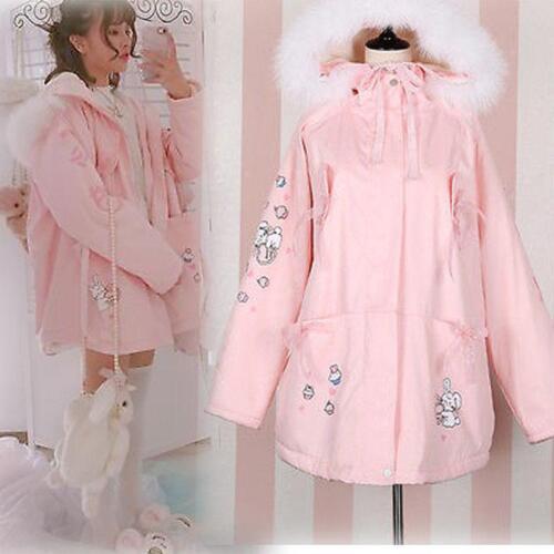 Kvinder Frakke Japanske Vogue Pink Polstret Hættetrøje Prinsesse Jakke Winter Lolita Søde zzxqr5Z
