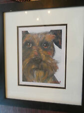 """Large Professional Framed 16x18 Dog Print by Julie A. """"Whiskers"""" Irish Terrier"""
