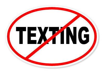 "No Texting Oval car window bumper sticker decal 5"" x 3"""