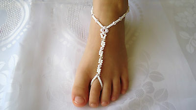 Barefoot Sandals for Kids ~ Beach  Wedding ~ ivory ~ white pearls..