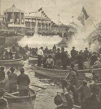 A1125 Genova - Il Re su Molo Lucedio - Stampa Antica del 1905