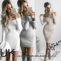 UK Womens Night Out Bodycon Dress Ladies Off Shoulder Jumper Dress Size 6 - 14