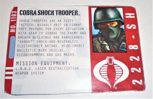 G I JOE File I.D Card Filecard  Pursuit of Cobra  2010      Cobra Shock Trooper