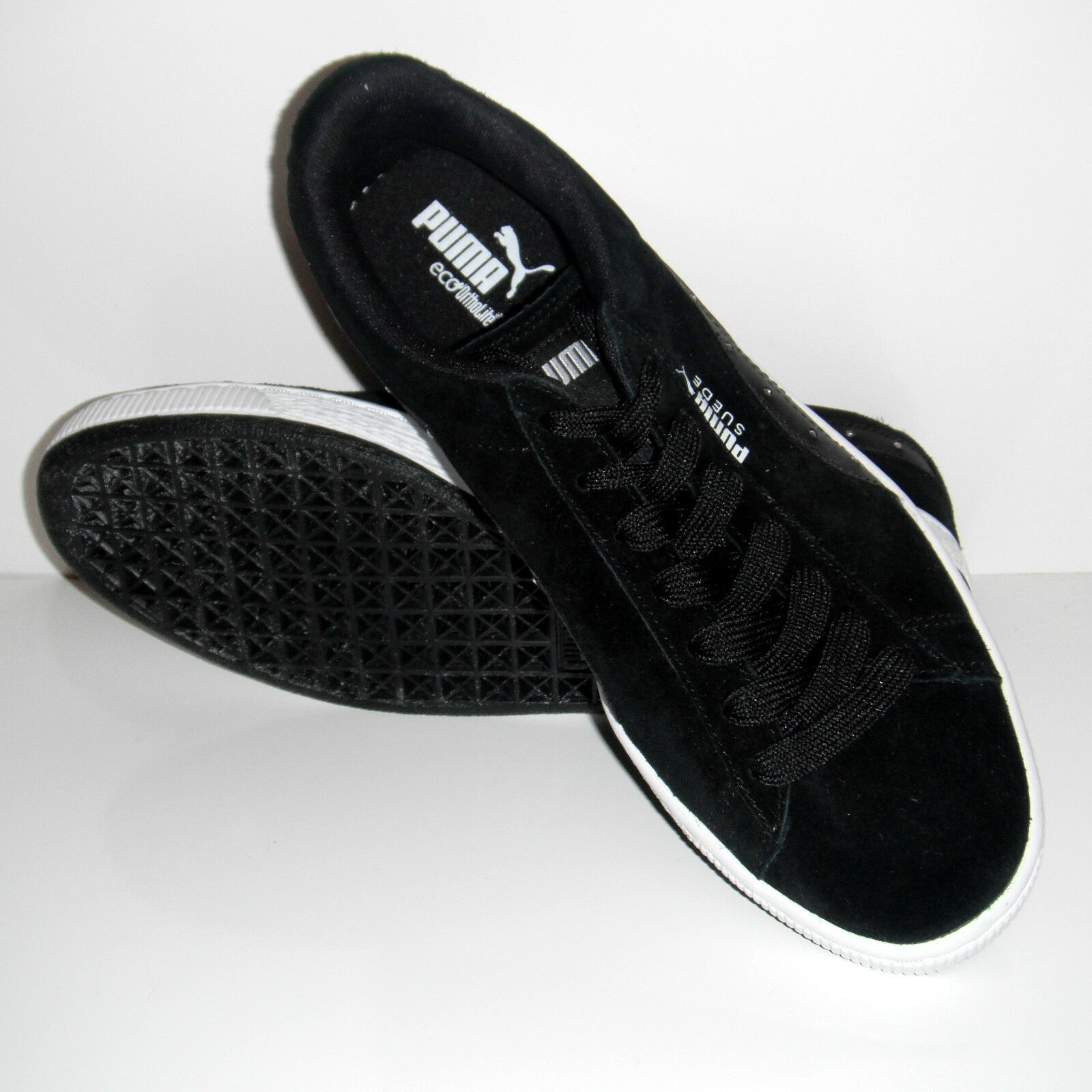 New Puma Men Eco Ortholite Black Suede Studded Sport Sneakers shoes sz 8.5M