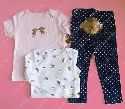 Carter's Child of Mine Baby Girl Cute Pink Monkey T-shirt bodysuit pants 3pc set