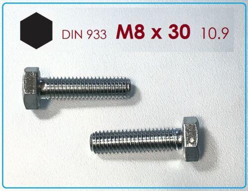 5 Stück Sechskantschraube M8x30 10.9 verzinkt