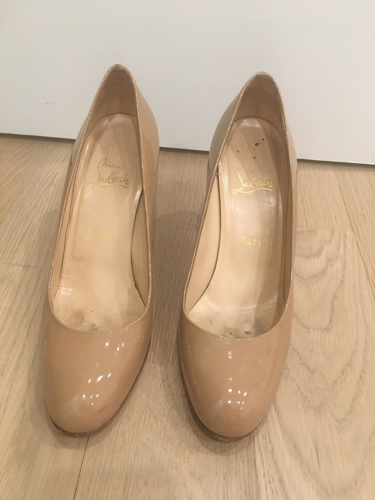 "Christian Louboutin Nude Patent Leather 4"" Heel.. Sz 38.5"