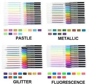 REGNO Unito 48 Penna Gel Set METALLICO GLITTER PASTELLO NEON PENNE GEL LIBRO da colorare per adulti