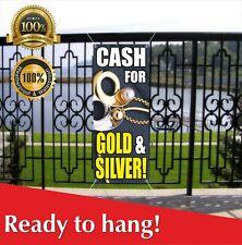 Cash For Gold Silver Banner Vinyl Mesh Banner Sign Pawn Loan Cashing In Money