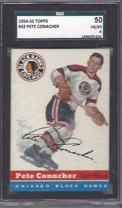 1954-55-Topps-hockey-card-33-Pete-Conacher-Chicago-Blackhawks-SGC-50-VGEX-4