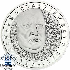 BRD-10-DM-Johann-Sebastian-Bach-2000-Silber-Stempelglanz-Muenze-in-Muenzkapsel