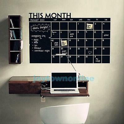 Vinyl Chalkboard Monthly Calendar Decal Wall Paper Removable Wall Stickers #JT1