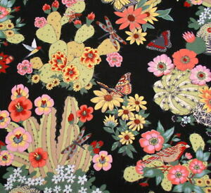 Alexander Henry Folklorico Hacienda Cactus 8862B Black Cotton Fabric BTY