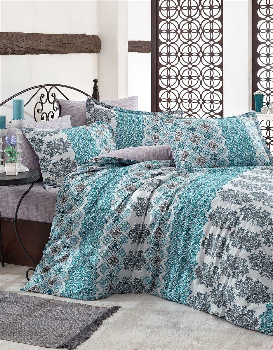 135x200 Cm Bettgarnitur Baumwolle Kissen 6 Tlg Motif Blau Bettbezug