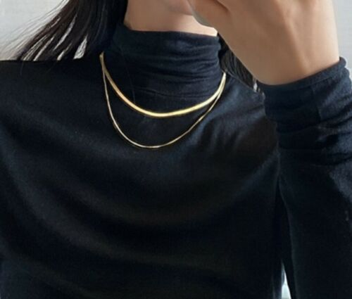 """Fashion Stainless Steel Gold Herringbone Double Chain Choker Necklace 15-17/"""""""
