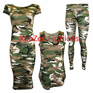 Women-039-s-Camouflage-Army-Leggings-Skirt-Vest-Top-Cap-Sleeve-Midi-Plus-Size-8-22