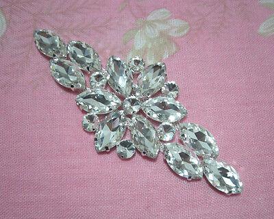 1Pcs Sew On Glass Crystal Rhinestone Silver Metal Bridal Dress Costume Applique