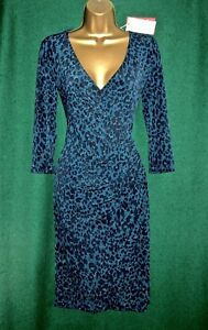 New-MONSOON-Teal-Blue-JOSIE-Animal-Print-Knee-Length-Jersey-Day-to-Evening-DRESS