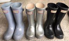HUNTER Rubber Rain Boots Set of 3 Black, Blue, Silver Girls Boots Size 11