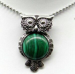 Natural-malachit-Gem-beads-animal-Owl-Retro-Silver-Pendant-necklace-Jewelry-P2