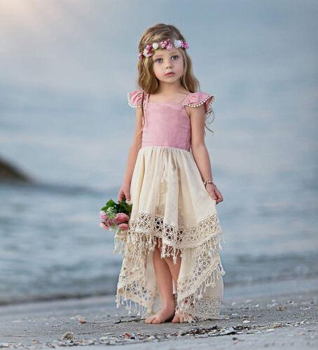 Girls Kids Summer Baby Sweet Princess Lovely Party Wedding Holiday Beach Dress