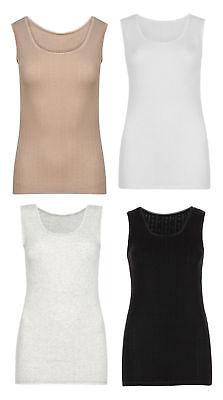 M/&S Pointelle Thermal Ladies Short Sleeve Vest Black Grey Ivory Beige size 6-22