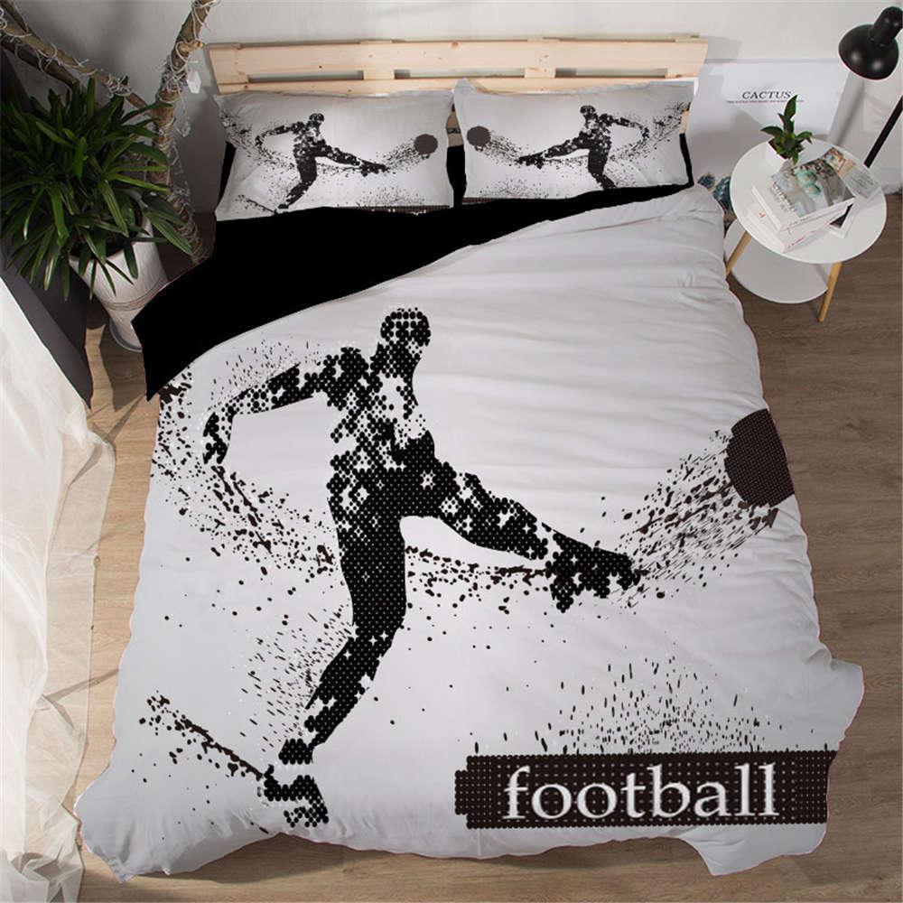 Perfect Boy Plays Football 3D Digital Print Bedding Duvet Quilt Cover Pillowcase