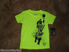 """NWT Inf Baby Boys 12 M Under Armour """"Make m Jump"""" S/S T Shirt Top Hi Vis Yellow"""