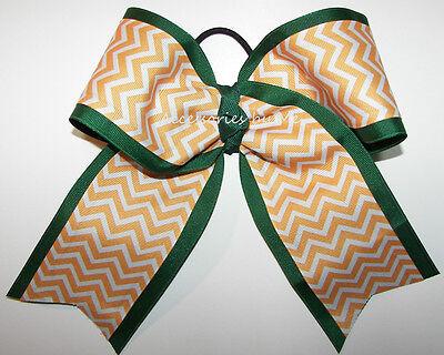 Bulk Big 7 Inches Cheer Bow Yellow Gold Chevron Green Ribbon Softball Volleyball