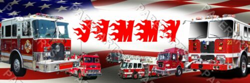 American Flag Fire Truck Personalized Home Decor 8.5x30 Banner Poster