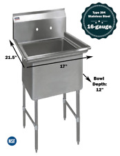 1 Compartment Commercial Stainless Steel Kitchen Utility Sink 17 X 21 X 36