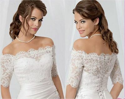 Sexy Off Shoulder Lace Bolero Jacket  Half Sleeve Bridal Wedding Shawls 2015