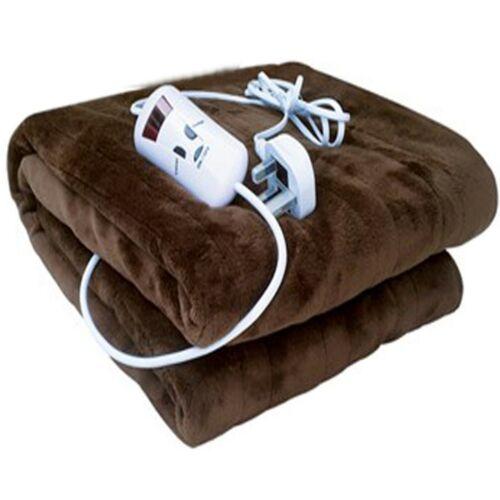 39040-chauffant électrique Jeté Polaire Douce chocolat sur couverture 120x160cm